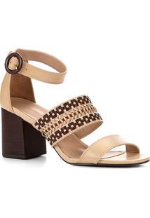 Sandália Shoestock Salto Médio Tiras Handmade - Feminino-Caramelo