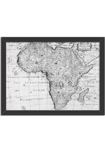 Quadro Decorativo Mapa Mundi Africa Preto E Branco Preto - Grande