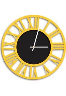 Relógio De Parede Decorativo Premium Vazado Números Romanos Amarelo Com Detalhe Preto Ônix Médio