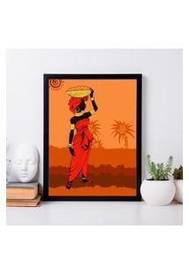 Quadro Decorativo Mulher Africana Color Preto - 30X40Cm