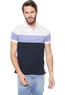 Camisa Polo Tommy Hilfiger Reta Dylan Branca/Azul-Marinho