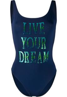 Alberta Ferretti Sequinned Slogan Open-Back Swimsuit - Azul