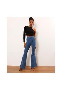 Calça Flare Jeans Com Recortes Cintura Super Alta Azul Médio