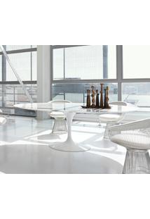 Mesa Saarinen De Jantar Oval Mármore - Base Branca 1,98 X 1,22 Granito São Gabriel