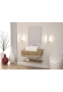 Conjunto Para Banheiro Gabinete Com Cuba Q35 E Prateleira 605W Metrópole Compace Carvalho