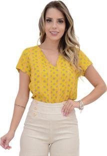 Blusa Mamorena Decote V Frente E Mangas Com Rendinha Amarela