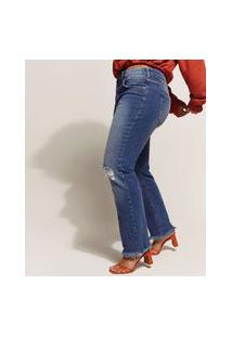 Calça Jeans Feminina Reta Cintura Alta Com Rasgos E Barra Desfiada Azul Escuro
