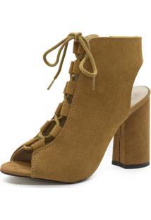 Sandália Abotinada Shoes Inbox Lace Salto Bloco - Feminino-Caramelo