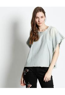 Camiseta Jeans Desfiada - Azul Clarocanal