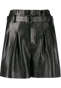 Red Valentino Belted Leather Shorts - Preto
