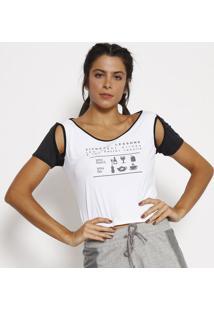 Blusa Alongada Com Vazados- Branca & Preta- Patrapatra