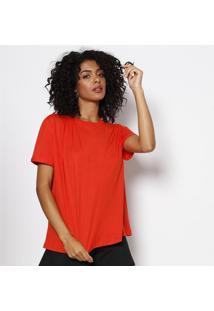 Camiseta Lisa Com Drapeado- Laranjaforum