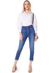 Calça Jeans Skinny Botões E Pence