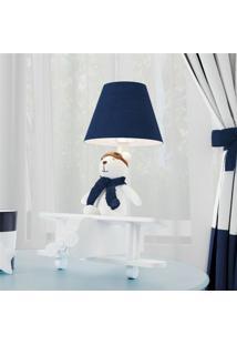 Abajur Quarto Bebê Menino Urso Aviador Grão De Gente Azul