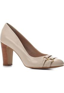 Scarpin Couro Shoestock Salto Alto Bico Redondo Tiras - Feminino-Bege