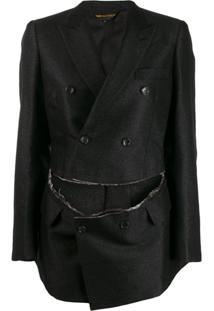 Comme Des Garçons Slashed Suit Jacket - Preto