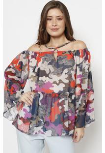 Blusa Ciganinha Camuflada Com Alã§As- Laranja & Azul Marispezzato