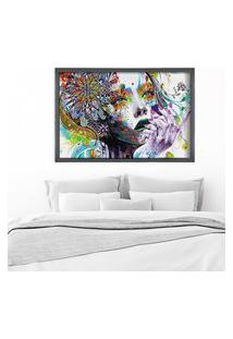 Quadro Love Decor Com Moldura Abstract Face Grafitti Metalizado Grande