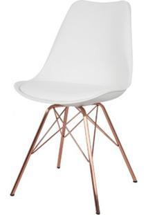 Cadeira Torre Eames Branca Com Almofada Base Em Aco Cor Cobre - 46938 - Sun House