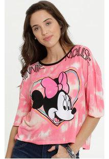 Blusa Feminina Estampa Tie Dye Minnie Manga Curta Disney