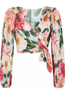 Dolce & Gabbana Blusa Com Transpasse E Estampa Floral - Rosa