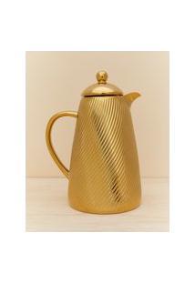 Amaro Feminino Garrafa Térmica Em Porcelana Detalhe Ranhura - 900 Ml, Dourado