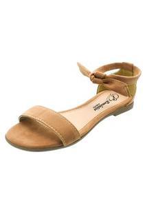 Sandália Rasteira Romântica Calçados Caramelo