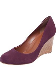 Scarpin My Shoes Bico Redondo Anabela Alta Vinho
