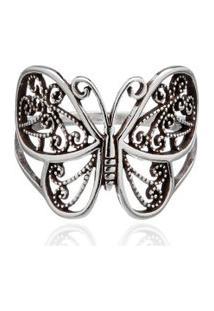 Anel Borboleta Prata 950 Bali
