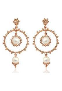 Brinco Ouro Rosé Pérolas Diamantes