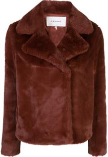 Frame Wide Collar Faux-Fur Jacket - Marrom