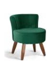 Poltrona Decorativa Fixa Pés De Madeira Olivia D02 Veludo Verde B-303 - Lyam Decor
