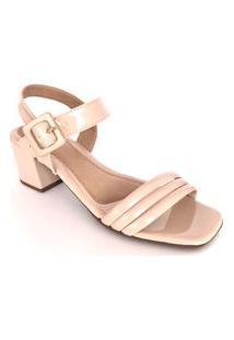 Sandália Salto Grosso Lolitta Fashion Tira Verniz