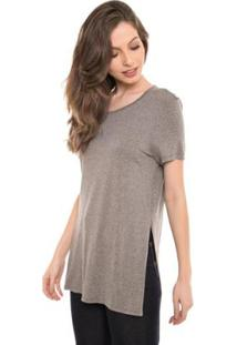 Camiseta Daniela Cristina Tee Long Com Top Feminina - Feminino-Cinza