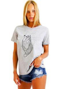 Camiseta Joss Feminina Estampada Esqueleto Heart - Feminino-Mescla