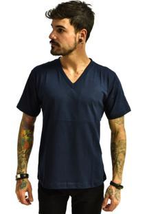 Camiseta Rich Young Gola V Básica Lisa Azul Marinho