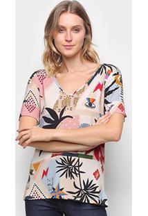 Camiseta T-Shirt Cantão Classic Recortes Feminina - Feminino-Colorido