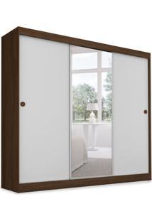 Guarda-Roupa Casal Com Espelho Donna 3 Pt Ipê E Branco