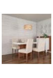 Conjunto De Mesa De Jantar Orlando I Com Tampo De Vidro Off White E 4 Cadeiras Grécia Veludo Creme