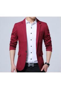 Blazer Masculino Sólido Design Slim - Vermelho
