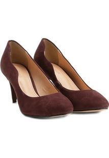 Scarpin Couro Shoestock Salto Médio Ondas - Feminino