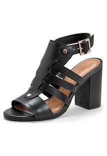 Sandalia Salto Alto Estilo Sandal Boot Com Detalhe De Tiras