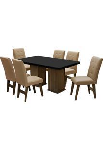 Conjunto De Mesa Para Sala De Jantar Com 6 Cadeiras Esparta-Dobue - Castanho / Preto / Mascavo