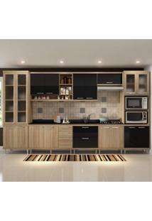Cozinha Completa Com Tampo 17 Portas 9 Peças Sicília Multimóveis Argila/Preto