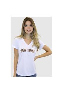 Camiseta Suffix Blusa Branca Basica Gola V Estampa New York Onça