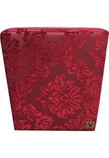 Puff Quadrado Alce Couch Jacquard Classic Vermelho 45Cm