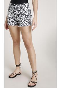 Short De Sarja Feminino Triya Estampado Animal Print Onça Cintura Super Alta Branco