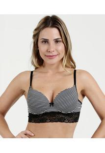Sutiã Feminino Top Corpete Listrado Renda Marisa