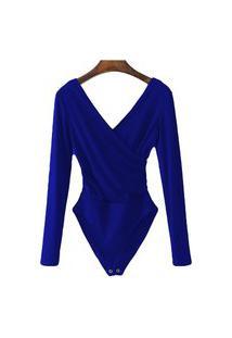 Body Blusa Feminina Transpassada Collant Com Elastano Azul Royal