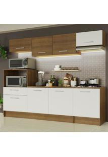 Cozinha Completa Madesa Onix 240002 Com Armário E Balcão - Rustic/Branco 5Z9B Marrom